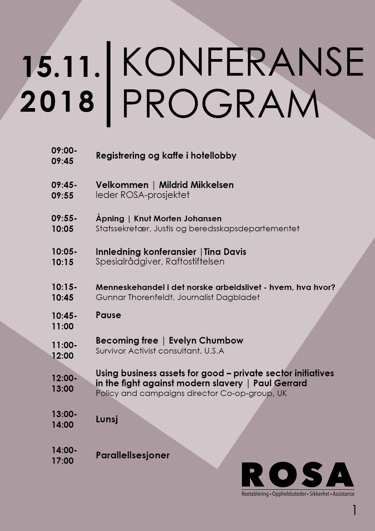 Program menneskehandelkonferansen 2018
